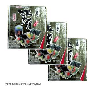 03 Pcte Alga Marinha Nori Sushi Temaki C/10 Folhas