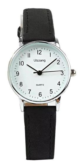 Relógio Feminino Pequeno Com Números Prata Aço Inox Couro