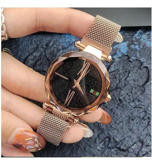 Relógio Luxo Céu Estrelado Fecho Imã Romanos- Ouro