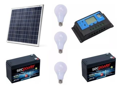 Lampada Solar 7w + Painel Solar + Bateria + Controlador