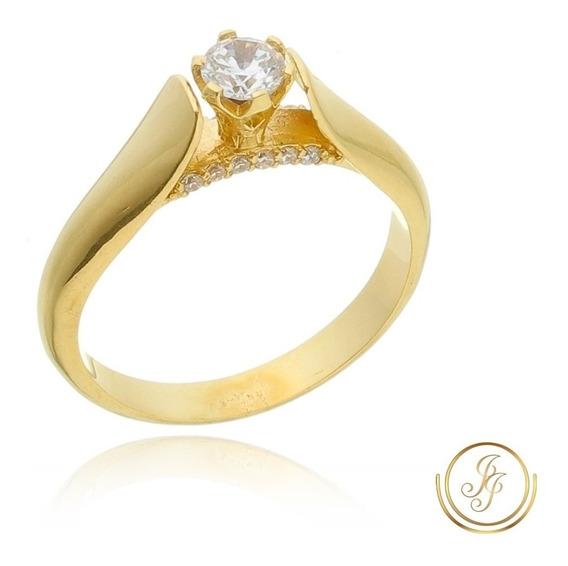 Anel Solitário Noivado Ouro 18 Kl Cravejado ( M 05 )