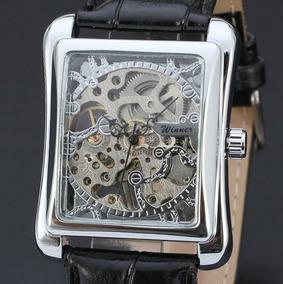 Relógio Luxo Quadrado Skeleton Mecânico Automático Couro Win