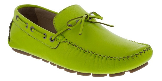 Zapato Hombre F.nebuloni Casual Tipo Mocasín Verde Limon