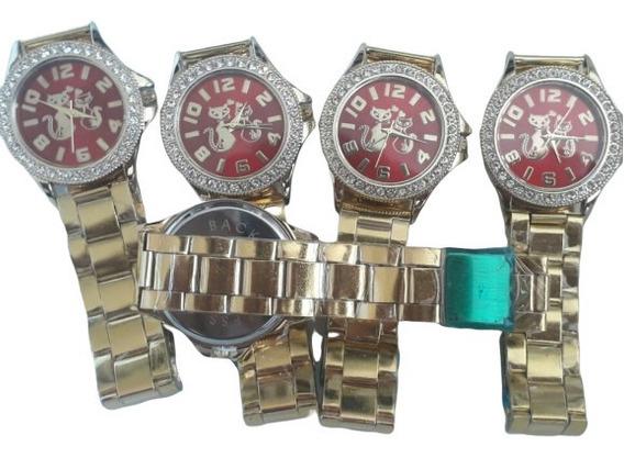 Kit C/05 Relógio De Pulso Feminino Barato Dourado Atacado