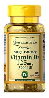 Vitamina D-3 5,000ui 125mcg 100 Softgels Puritans Pride