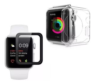 Capa Silicone + Película Gel Apple Watch Iwatch 38 40 42 44