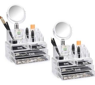 X2 Cosmetiquero Acrílico Organizador De Maquillaje Ml1495