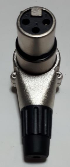 Kit 4 Unidades Plugue Xlr Fêmea 90° Conector Em L