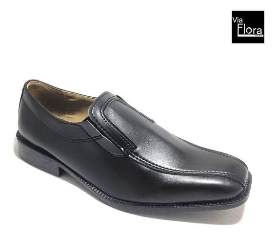Zapato De Vestir Hombre Elastico Simil Cuero Punta Cuadrada