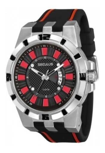 Relógio Masculino Seculus Extra Grande Em Aço Puls/ Silicone