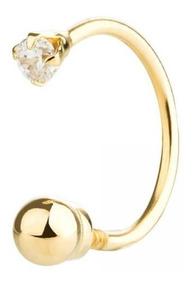 Piercing Orelha Ouro 18k Bolinha Com Pedra Pop0030
