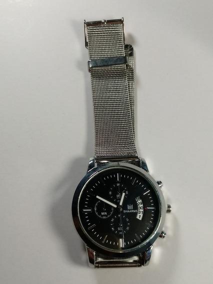 Relógio Unisex Shaarms, De Metal Prateado Fundo Preto