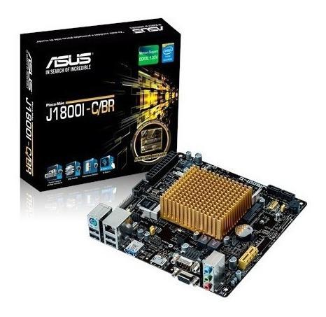 Placa Mãe Asus C/ Processador Celeron  Itx J1800i-c/br