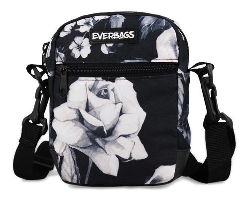 Imagem 1 de 8 de Shoulder Bag Bolsa Necessaire Pochete Everbags Floral Preto