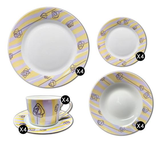 Set Vajilla Porcelana 20 Pzas Platos Tazas Varios Diseños