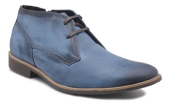 Sapato Perlatto Couro Azul 7102