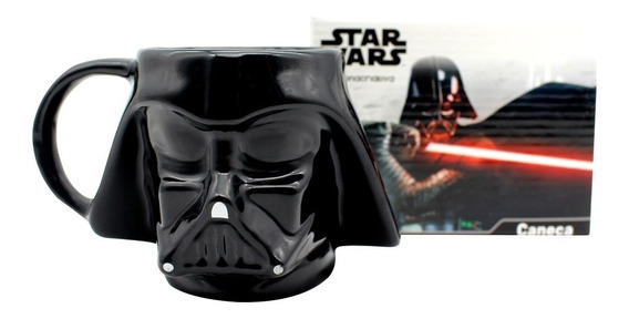Caneca Porcelana Formato 3d 500ml Darth Vader Star Wars