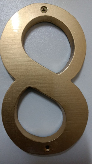 Numero Residencial 8 Em Alumínio Escovado Ou Colorido