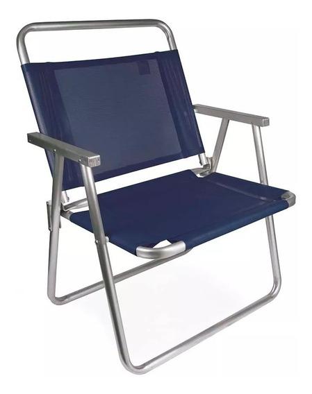Cadeira De Praia Oversize Alumínio Reforçada Larga Mor 140kg