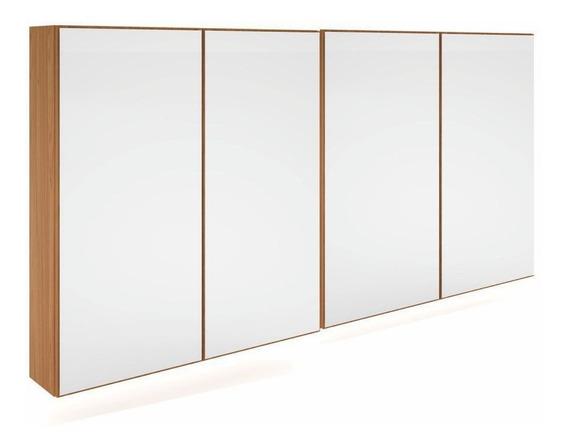 Armário Aéreo Mdf 1,72mx90cm 4 Portas Espelhadas Luzes Led