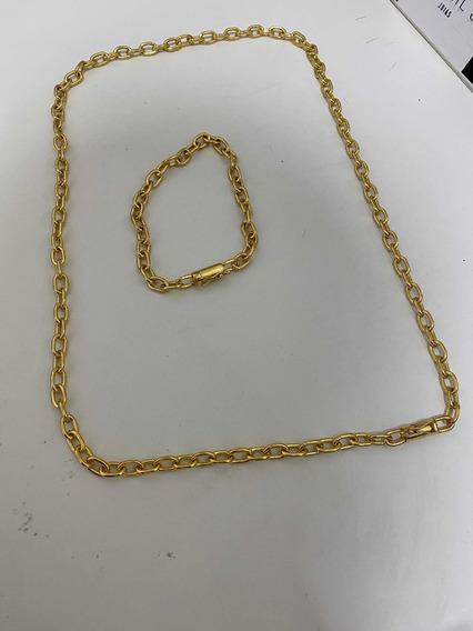 Corrente+pulseira Cadeado 6mm De Moeda Antiga