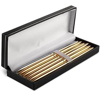 Bolígrafo De 6 Puntos Oro Y Plata Metal Plating Rotación Pe