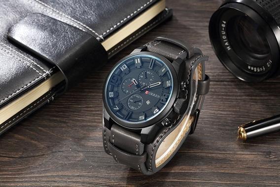Relógio Curren 8225 Couro Caixa Brinde- 12x Sem Juros
