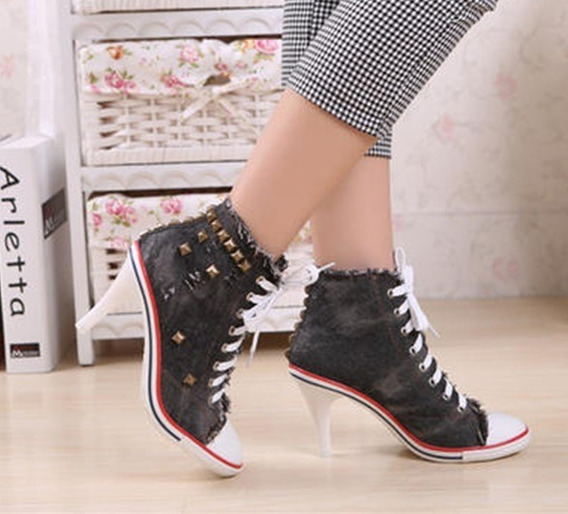 Tênis Jeans De Salto Com Spikes Sneakers Tam 33 A 38