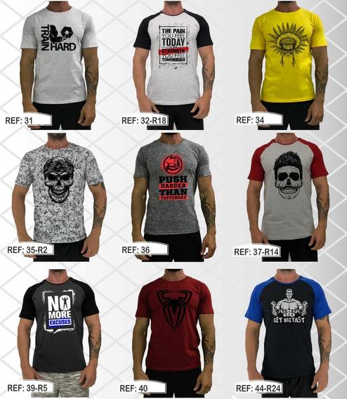 Kit 4 Camisetas Masculina Academia Estampadas Blusa T-shirt