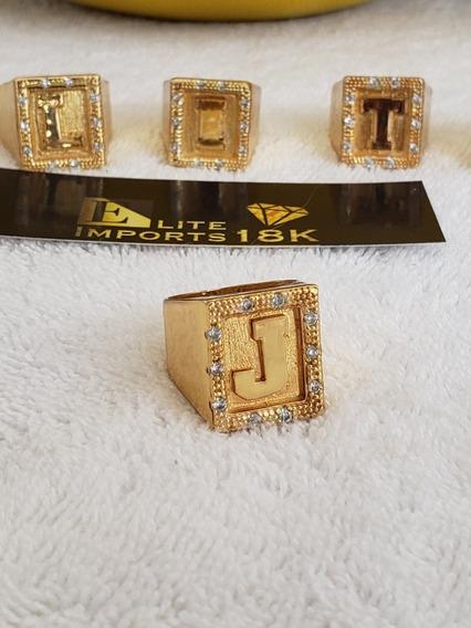 Anel De Letra Com Pedra Cravejada Banhado A Ouro 18k