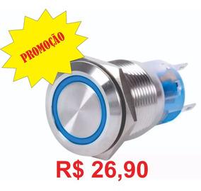 Kit 10x Botão Pulso De Inox 12v 19mm Led Azul Preço Especial