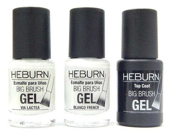 Heburn Set Esmaltes Uñas Efecto Gel Blanco+ Via Lactea + Top