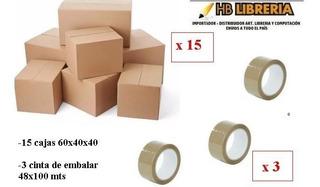 Kit Mudanza 15 Cajas 60x40x40 +3 Cintas Embalar 48x100mts