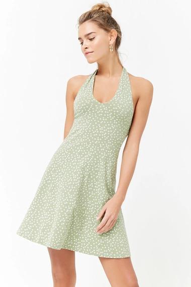 Forever 21 Vestido Corto Halter Verde Flores Blancas S Ch