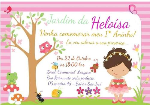 Imagem 1 de 1 de Convite Jardim Encantado Infantil Personalizado 20uni