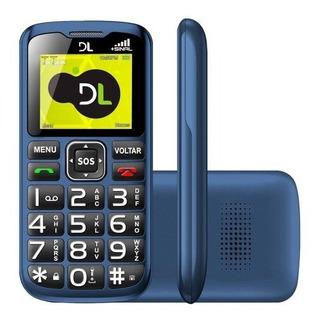 Celular Dl Yc120 Gsm Dual Chip Azul Para Idoso Botão Sos