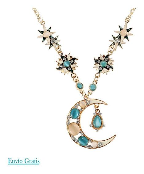 Collar Hermosas Piedras En Media Luna Dorada Moda Para Mujer