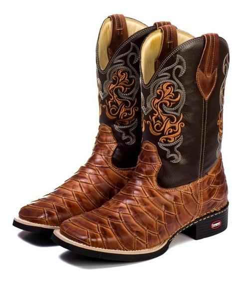Bota Texana Masculina Rodeio Escamada Couro Bico Quadrado