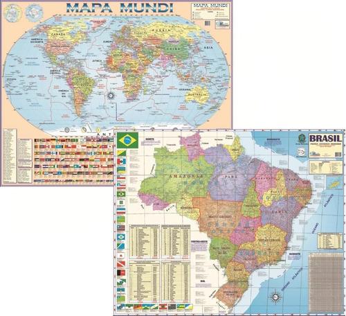 Kit Com 2 Mapas Atlas Gigantes Mundi E Brasil  1,20 X 0,90m