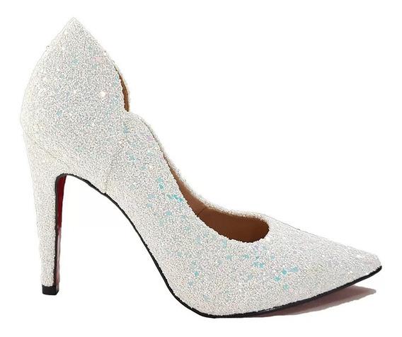 Sapato Feminino Branco Noiva Glitter Salto Alto Casamento 3