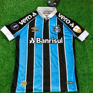 Camisa Grêmio Tricolor Libertadores Com Patchs E Patrocínios