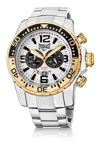 Relógio Pulso Everlast Masculino Cronografo Aço Prata E654