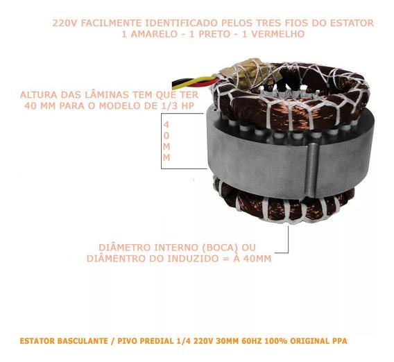 Reposição Estator Motor 1/3 Dz Rio 500 Ppa Mono 40mm S/j