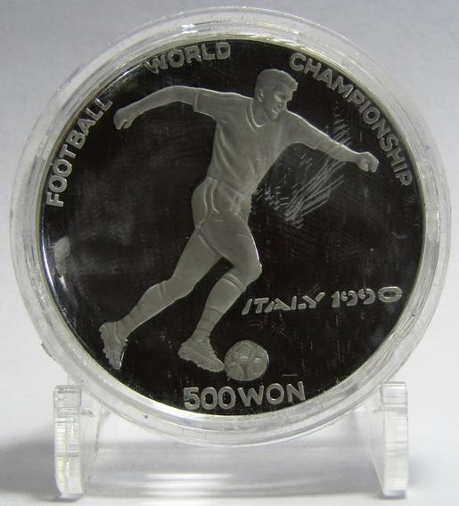 Corea Del Norte Moneda 500 Won Plata 1988 Mundial 1990 Proof