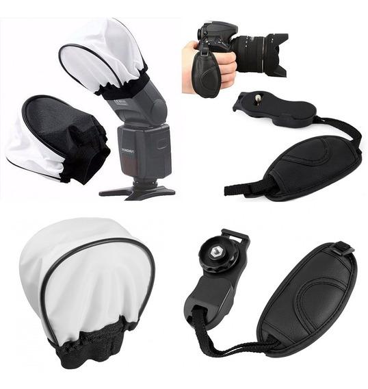 Kit Difusor Para Flash Universal + Alça De Mão Para Câmera