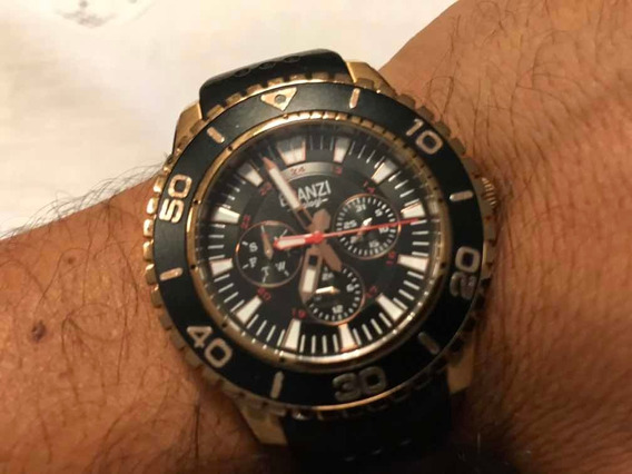 Reloj Branzi Chrono Cuarzo Extensible Caucho 50mm Bicolor