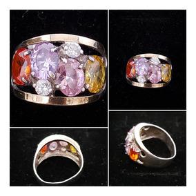 Anel Prata Ouro 6 Pedras Ametista Citrino Zirconia