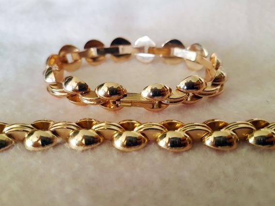 Par Braceletes/pulseiras Banhadas À Ouro - Vintage Raridade