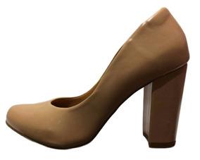 49560a16f2 Sapato Feminino Nude Fosco Salto Grosso Ana Gimenez 855a