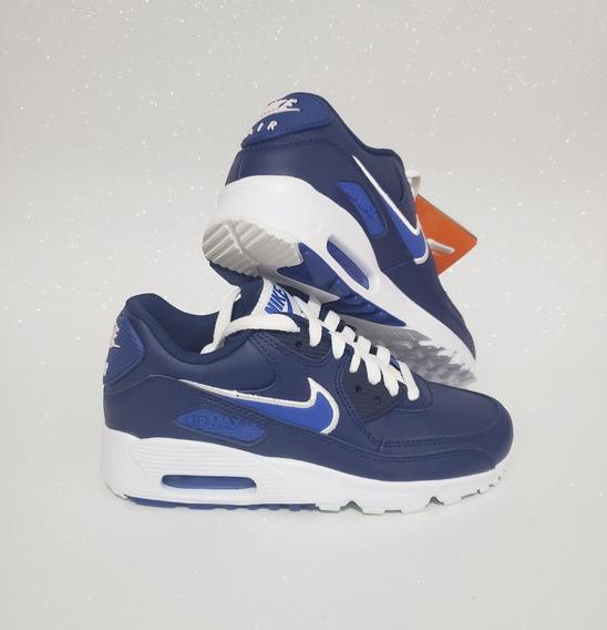 Tênis Nike Air Max 90 Leather Azul Tamanho 34 Original